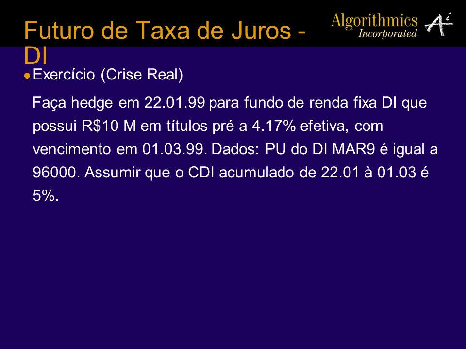 Futuro de Taxa de Juros - DI Exercício (Crise Real) Faça hedge em 22.01.99 para fundo de renda fixa DI que possui R$10 M em títulos pré a 4.17% efetiv