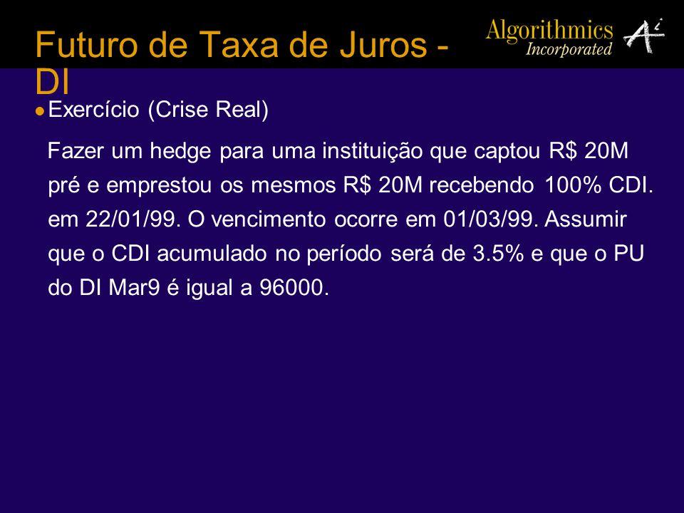 Futuro de Taxa de Juros - DI Exercício (Crise Real) Fazer um hedge para uma instituição que captou R$ 20M pré e emprestou os mesmos R$ 20M recebendo 1