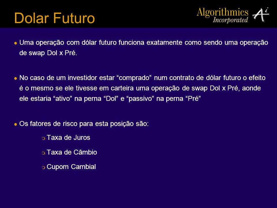 Dolar Futuro Uma operação com dólar futuro funciona exatamente como sendo uma operação de swap Dol x Pré. No caso de um investidor estar comprado num