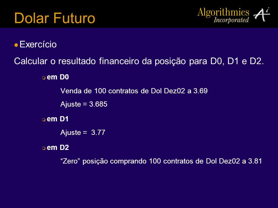 Dolar Futuro Exercício Calcular o resultado financeiro da posição para D0, D1 e D2. em D0 Venda de 100 contratos de Dol Dez02 a 3.69 Ajuste = 3.685 em