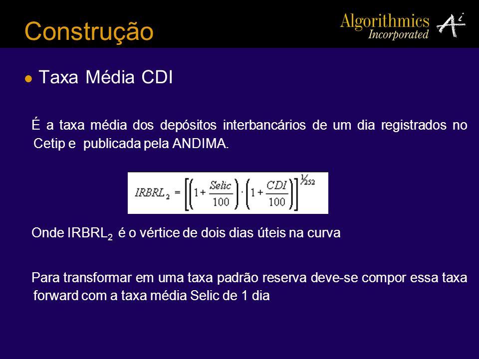 Construção Taxa Média CDI É a taxa média dos depósitos interbancários de um dia registrados no Cetip e publicada pela ANDIMA. Onde IRBRL 2 é o vértice
