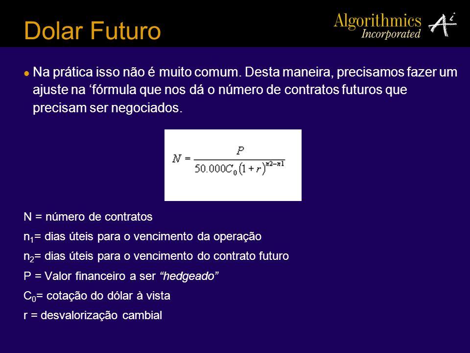 Dolar Futuro Na prática isso não é muito comum. Desta maneira, precisamos fazer um ajuste na fórmula que nos dá o número de contratos futuros que prec