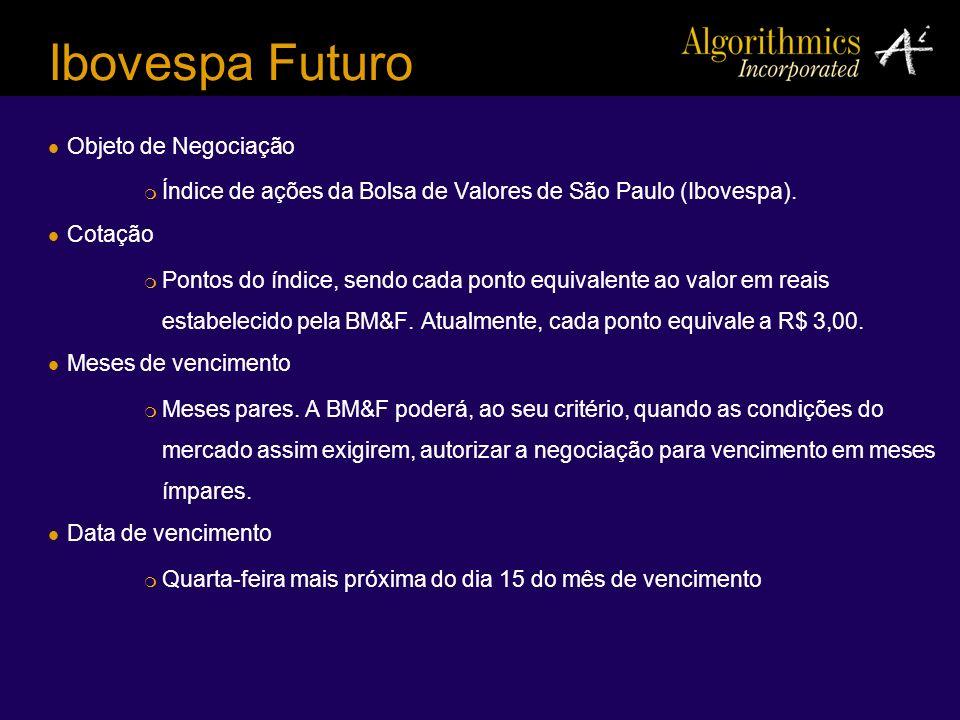 Ibovespa Futuro Objeto de Negociação Índice de ações da Bolsa de Valores de São Paulo (Ibovespa). Cotação Pontos do índice, sendo cada ponto equivalen