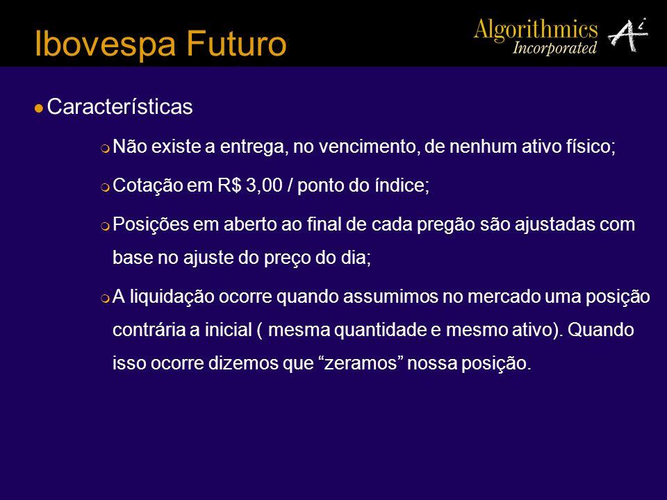 Ibovespa Futuro Características Não existe a entrega, no vencimento, de nenhum ativo físico; Cotação em R$ 3,00 / ponto do índice; Posições em aberto