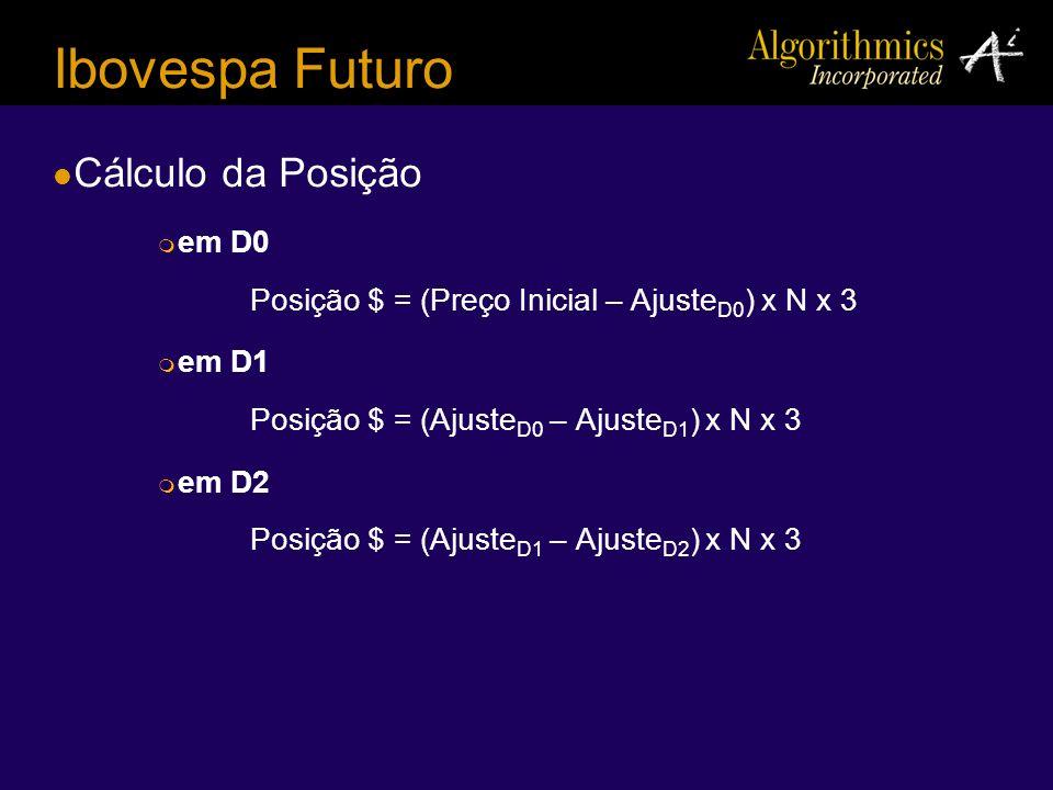 Ibovespa Futuro Cálculo da Posição em D0 Posição $ = (Preço Inicial – Ajuste D0 ) x N x 3 em D1 Posição $ = (Ajuste D0 – Ajuste D1 ) x N x 3 em D2 Pos