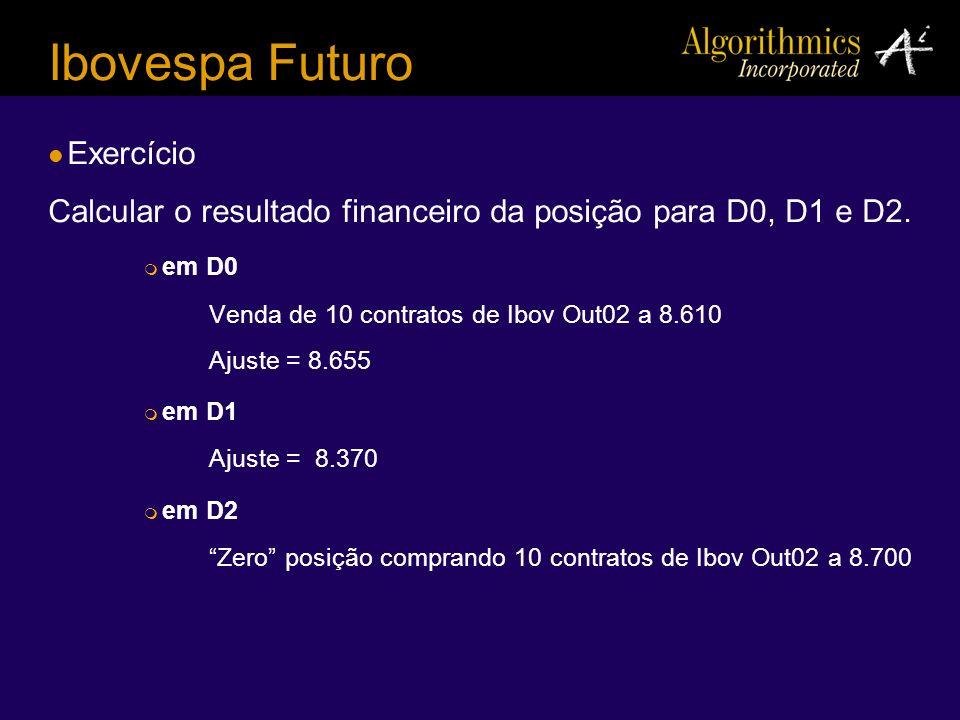 Ibovespa Futuro Exercício Calcular o resultado financeiro da posição para D0, D1 e D2. em D0 Venda de 10 contratos de Ibov Out02 a 8.610 Ajuste = 8.65