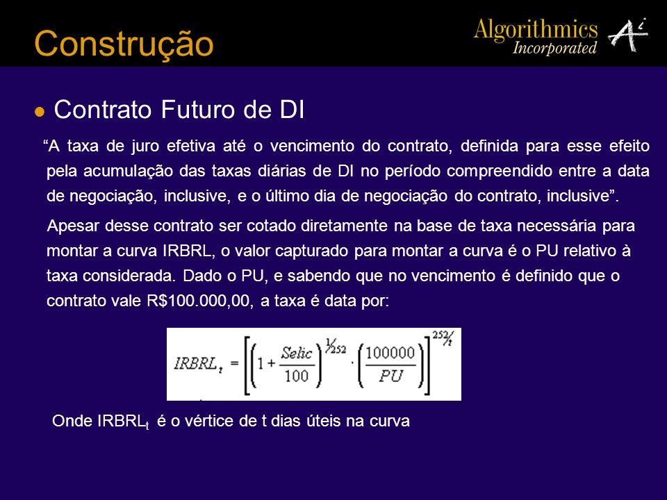 Construção Contrato Futuro de DI A taxa de juro efetiva até o vencimento do contrato, definida para esse efeito pela acumulação das taxas diárias de D