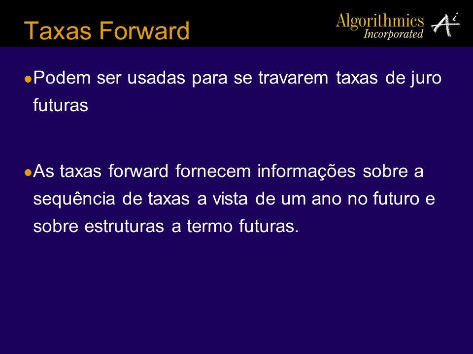 Taxas Forward Podem ser usadas para se travarem taxas de juro futuras As taxas forward fornecem informações sobre a sequência de taxas a vista de um a