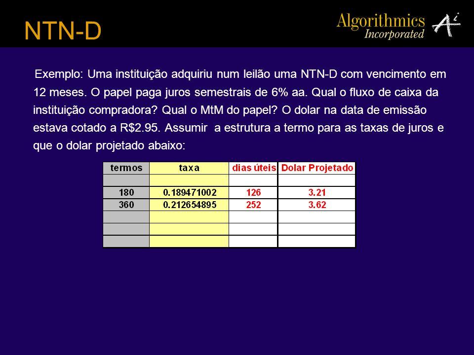 NTN-D Exemplo: Uma instituição adquiriu num leilão uma NTN-D com vencimento em 12 meses. O papel paga juros semestrais de 6% aa. Qual o fluxo de caixa