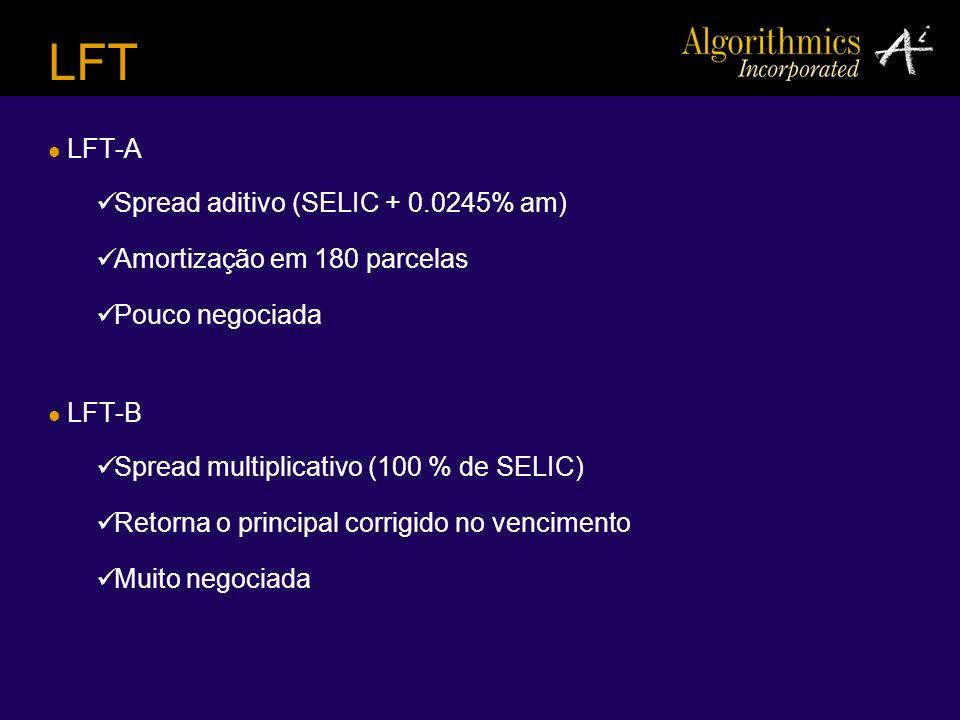 LFT LFT-A Spread aditivo (SELIC + 0.0245% am) Amortização em 180 parcelas Pouco negociada LFT-B Spread multiplicativo (100 % de SELIC) Retorna o princ