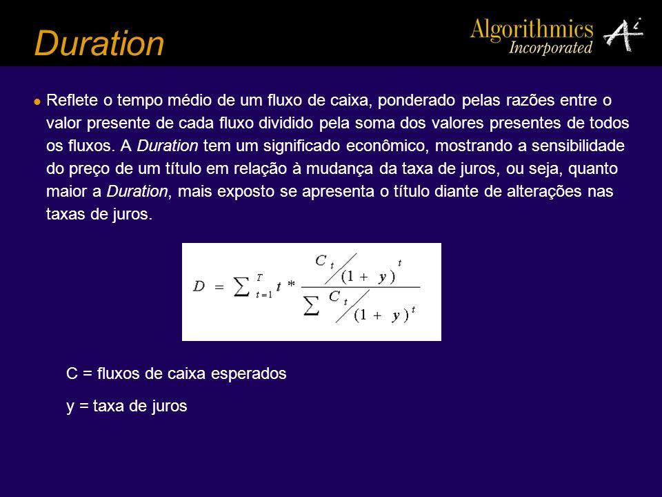 Duration Reflete o tempo médio de um fluxo de caixa, ponderado pelas razões entre o valor presente de cada fluxo dividido pela soma dos valores presen