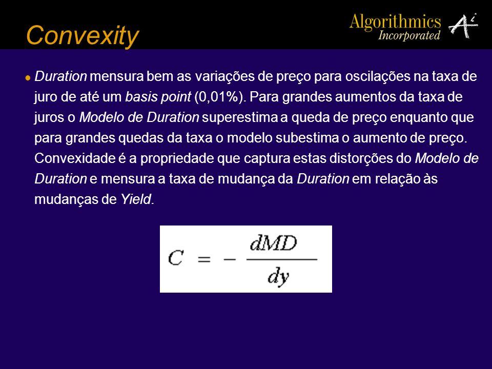 Convexity Duration mensura bem as variações de preço para oscilações na taxa de juro de até um basis point (0,01%). Para grandes aumentos da taxa de j