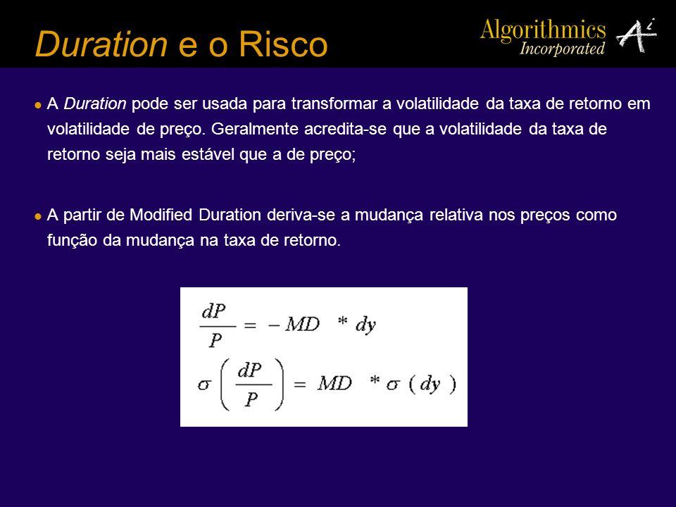 Duration e o Risco A Duration pode ser usada para transformar a volatilidade da taxa de retorno em volatilidade de preço. Geralmente acredita-se que a
