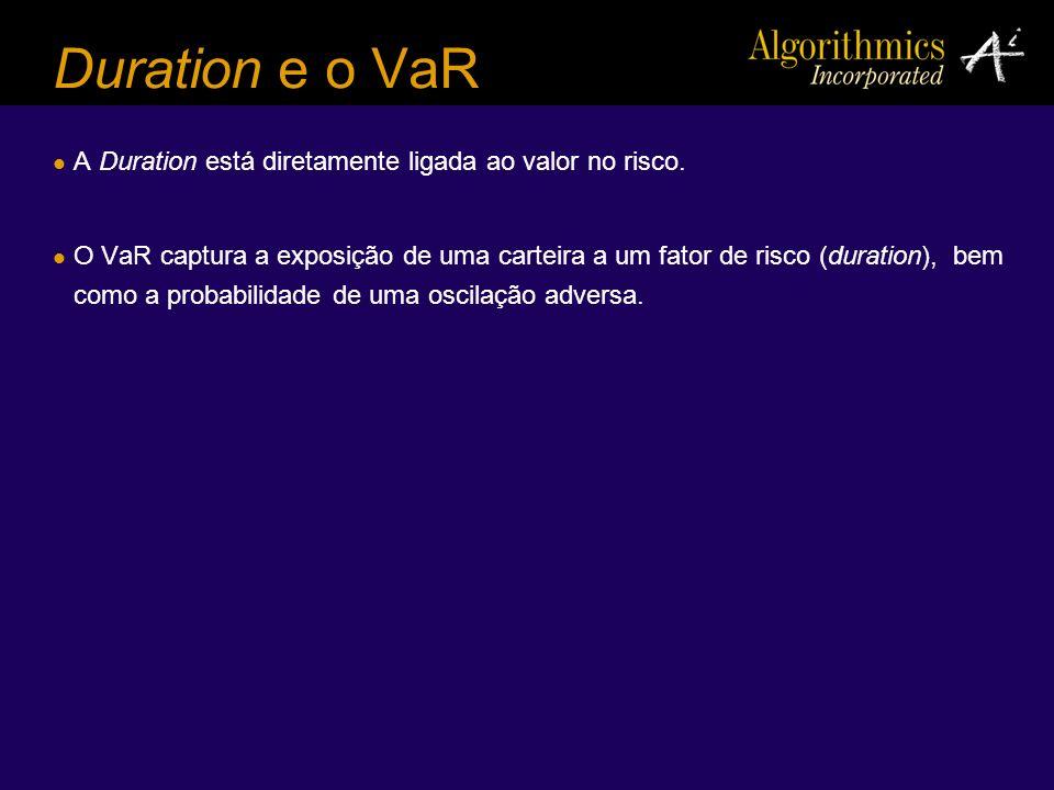 Duration e o VaR A Duration está diretamente ligada ao valor no risco. O VaR captura a exposição de uma carteira a um fator de risco (duration), bem c