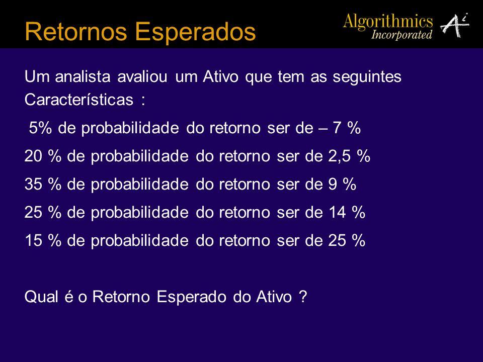 Um analista avaliou um Ativo que tem as seguintes Características : 5% de probabilidade do retorno ser de – 7 % 20 % de probabilidade do retorno ser d