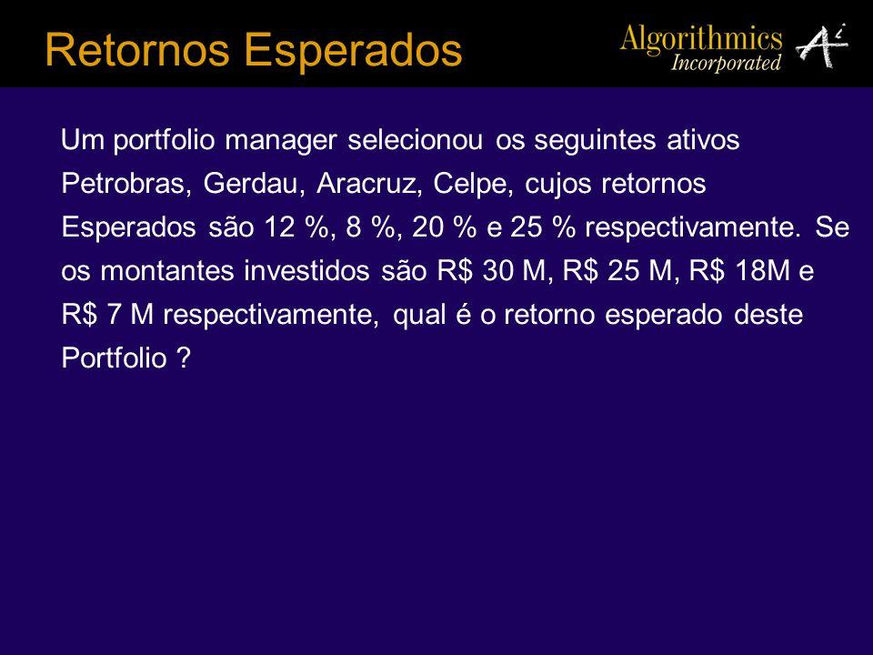Um portfolio manager selecionou os seguintes ativos Petrobras, Gerdau, Aracruz, Celpe, cujos retornos Esperados são 12 %, 8 %, 20 % e 25 % respectivam