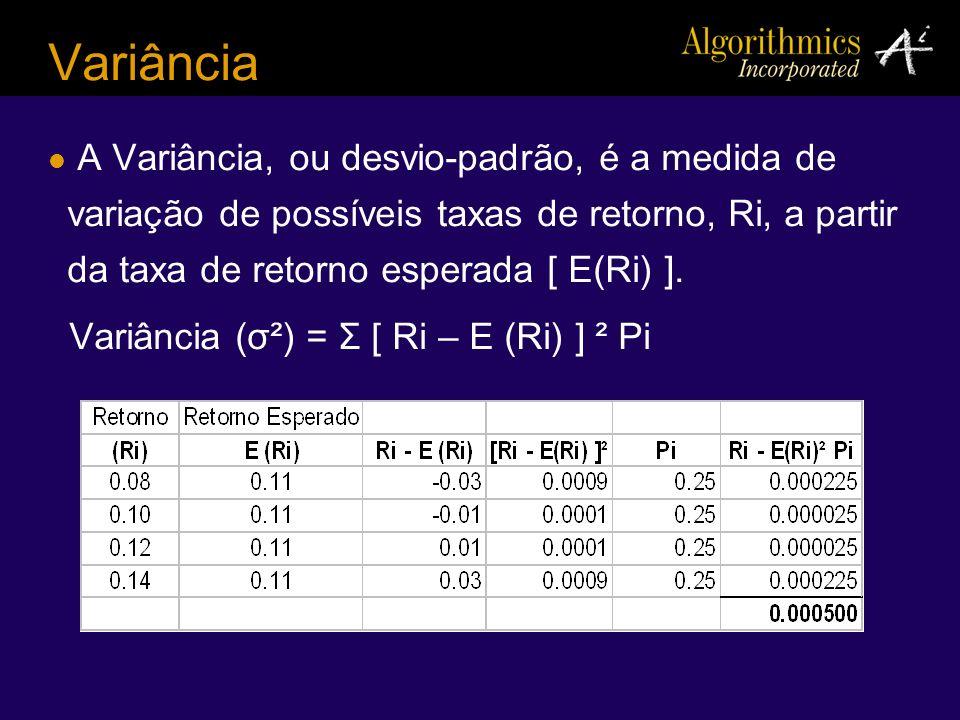 Variância A Variância, ou desvio-padrão, é a medida de variação de possíveis taxas de retorno, Ri, a partir da taxa de retorno esperada [ E(Ri) ]. Var