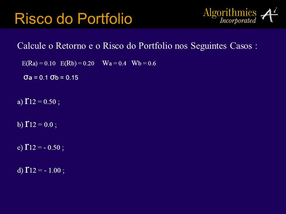 a) r 12 = 0.50 ; b) r 12 = 0.0 ; c) r 12 = - 0.50 ; d) r 12 = - 1.00 ; Risco do Portfolio Calcule o Retorno e o Risco do Portfolio nos Seguintes Casos