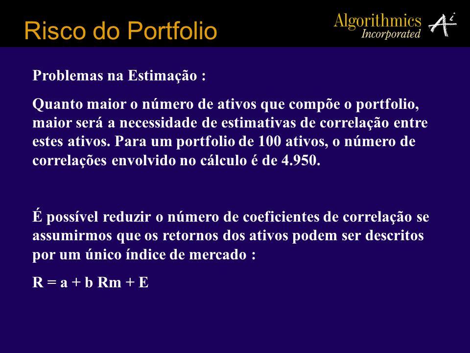 Risco do Portfolio Problemas na Estimação : Quanto maior o número de ativos que compõe o portfolio, maior será a necessidade de estimativas de correla