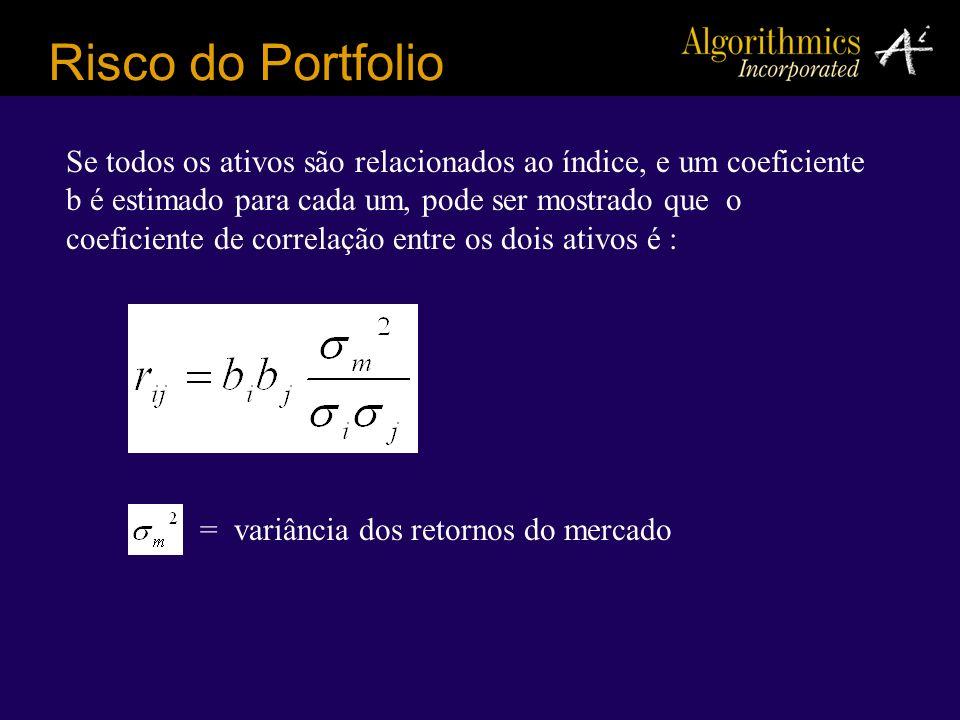 Risco do Portfolio Se todos os ativos são relacionados ao índice, e um coeficiente b é estimado para cada um, pode ser mostrado que o coeficiente de c