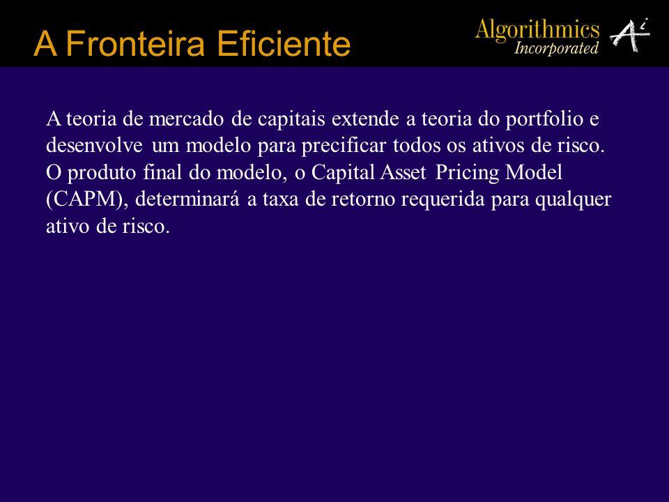 A Fronteira Eficiente A teoria de mercado de capitais extende a teoria do portfolio e desenvolve um modelo para precificar todos os ativos de risco. O