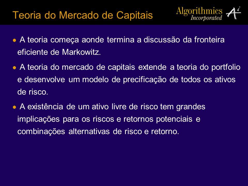 A teoria começa aonde termina a discussão da fronteira eficiente de Markowitz. A teoria do mercado de capitais extende a teoria do portfolio e desenvo
