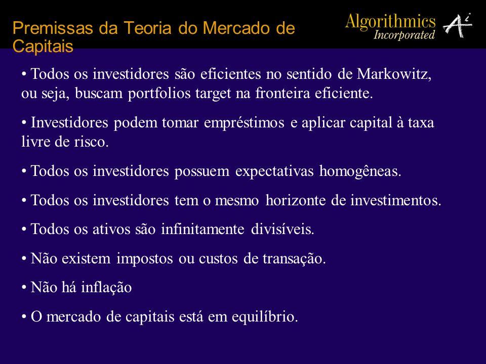 Premissas da Teoria do Mercado de Capitais Todos os investidores são eficientes no sentido de Markowitz, ou seja, buscam portfolios target na fronteir