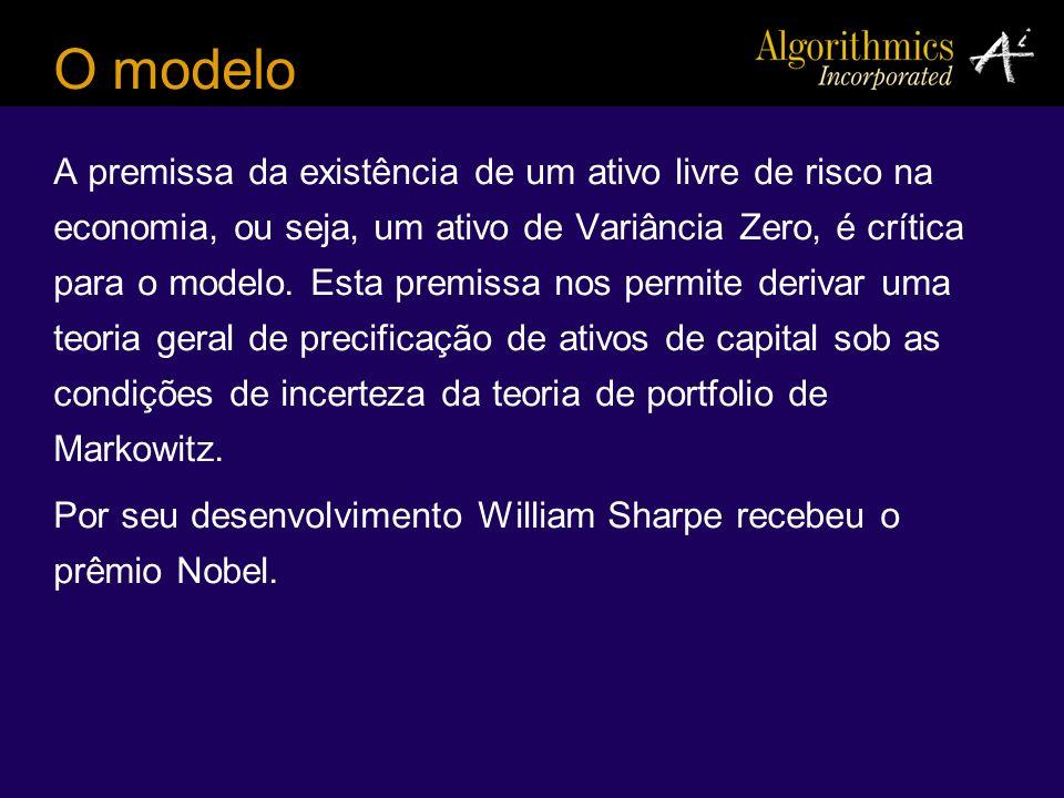 O modelo A premissa da existência de um ativo livre de risco na economia, ou seja, um ativo de Variância Zero, é crítica para o modelo. Esta premissa