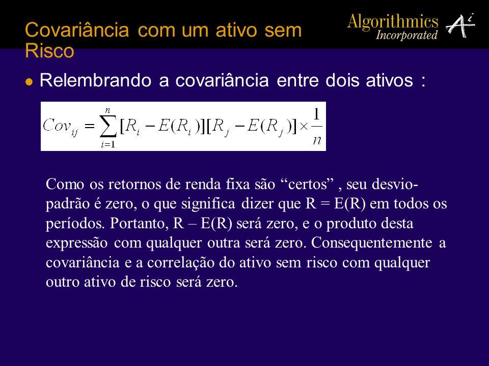 Relembrando a covariância entre dois ativos : Covariância com um ativo sem Risco Como os retornos de renda fixa são certos, seu desvio- padrão é zero,