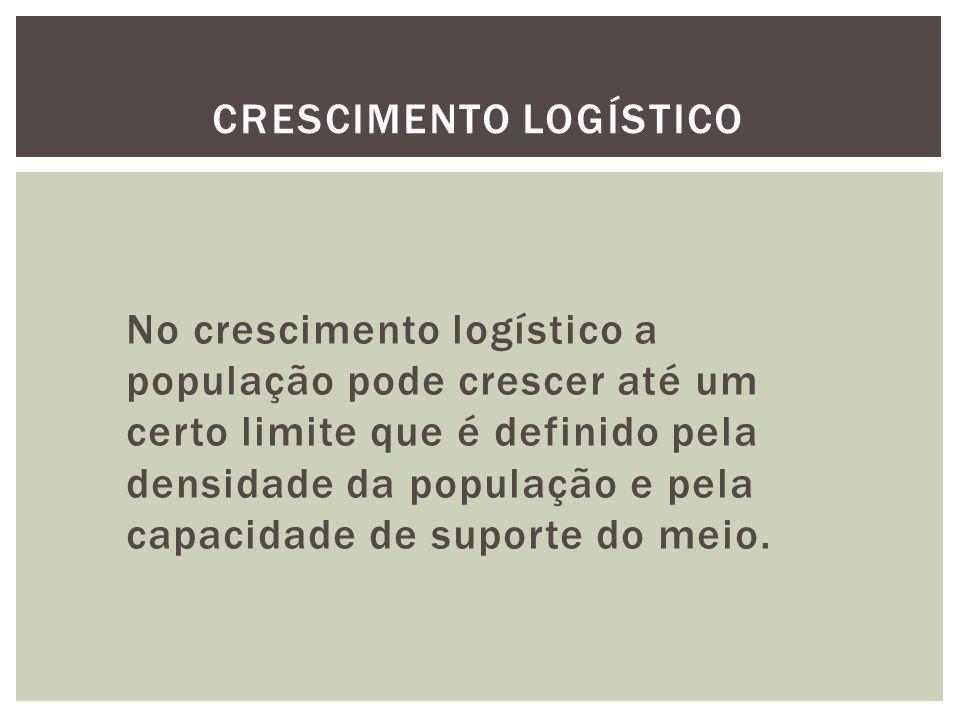 No crescimento logístico a população pode crescer até um certo limite que é definido pela densidade da população e pela capacidade de suporte do meio.