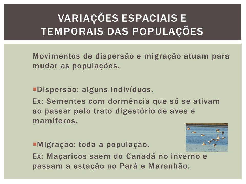 Movimentos de dispersão e migração atuam para mudar as populações. Dispersão: alguns indivíduos. Ex: Sementes com dormência que só se ativam ao passar