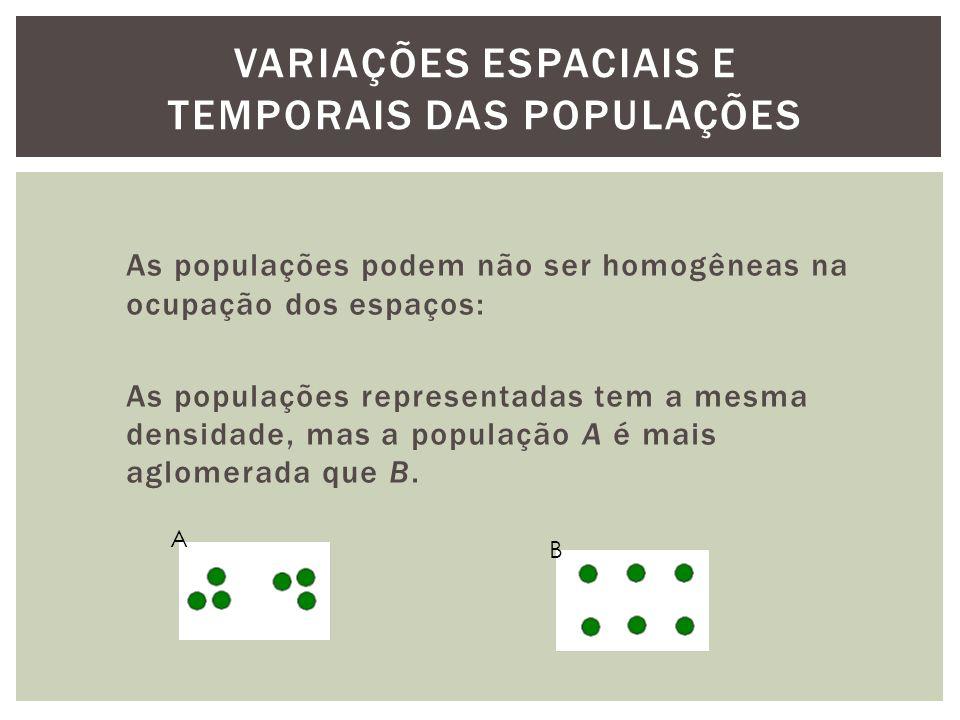 As populações podem não ser homogêneas na ocupação dos espaços: As populações representadas tem a mesma densidade, mas a população A é mais aglomerada que B.