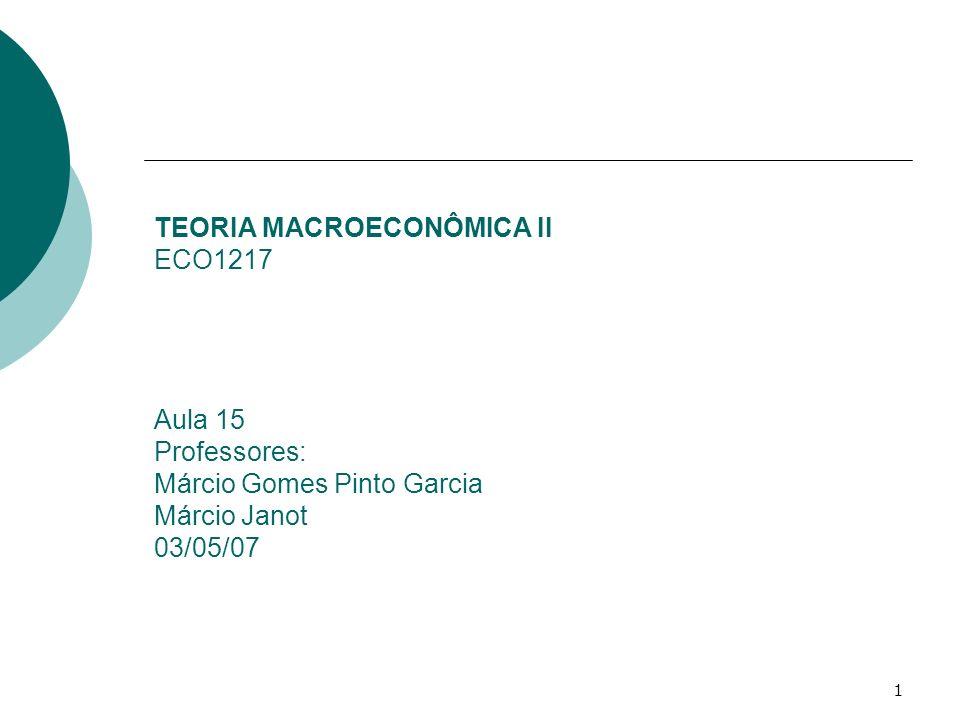 1 TEORIA MACROECONÔMICA II ECO1217 Aula 15 Professores: Márcio Gomes Pinto Garcia Márcio Janot 03/05/07