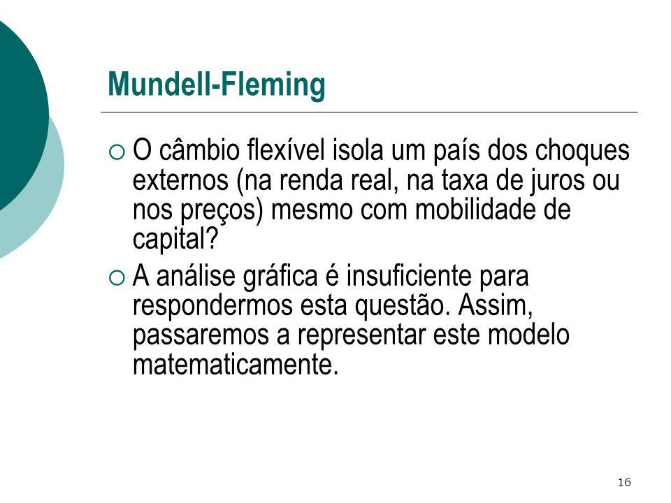 16 Mundell-Fleming O câmbio flexível isola um país dos choques externos (na renda real, na taxa de juros ou nos preços) mesmo com mobilidade de capital.