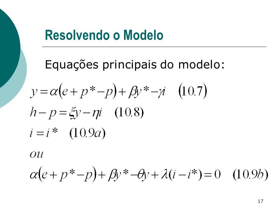 17 Resolvendo o Modelo Equações principais do modelo: