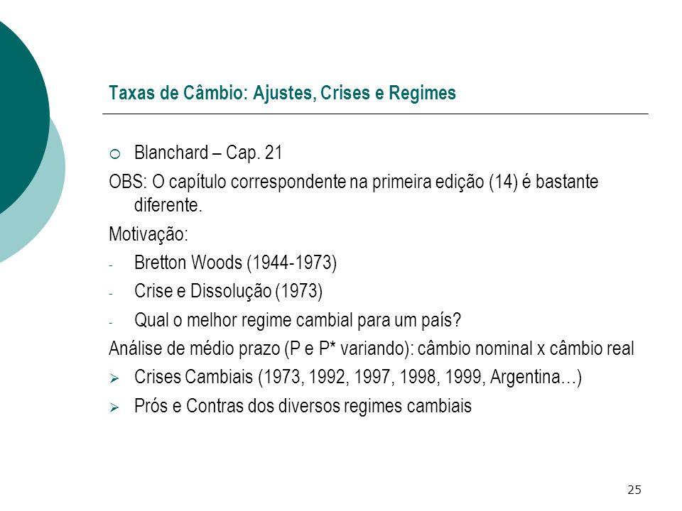 25 Taxas de Câmbio: Ajustes, Crises e Regimes Blanchard – Cap. 21 OBS: O capítulo correspondente na primeira edição (14) é bastante diferente. Motivaç