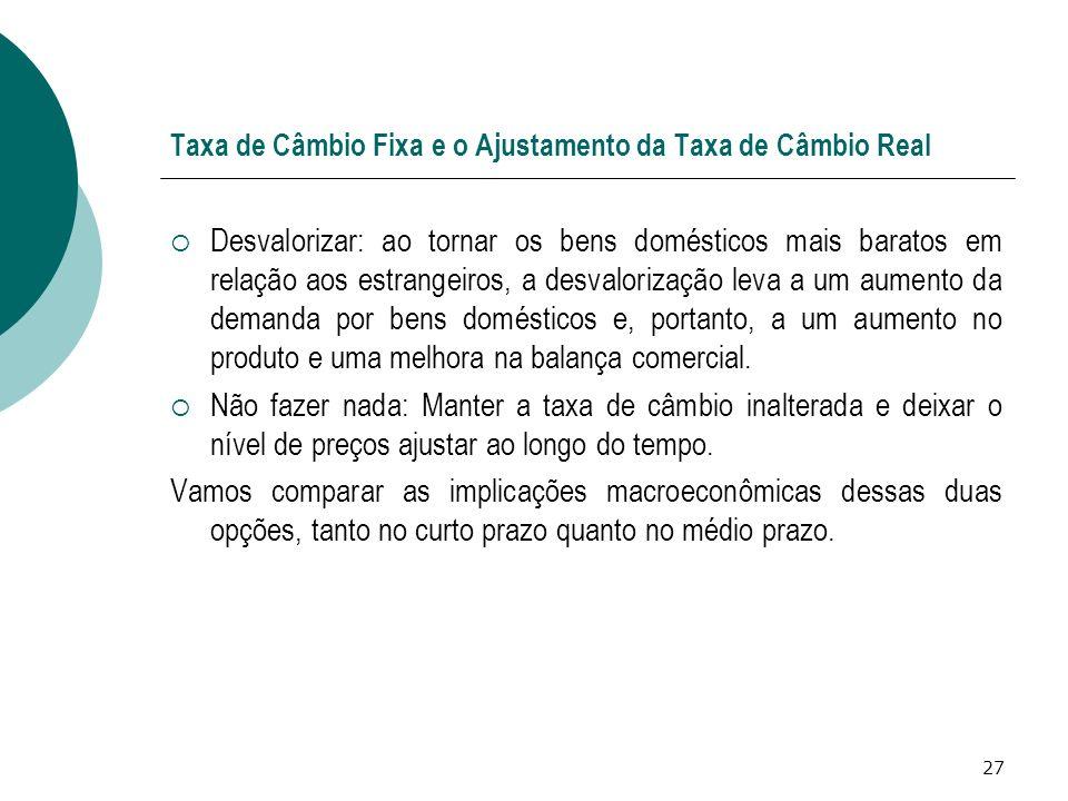 27 Taxa de Câmbio Fixa e o Ajustamento da Taxa de Câmbio Real Desvalorizar: ao tornar os bens domésticos mais baratos em relação aos estrangeiros, a d