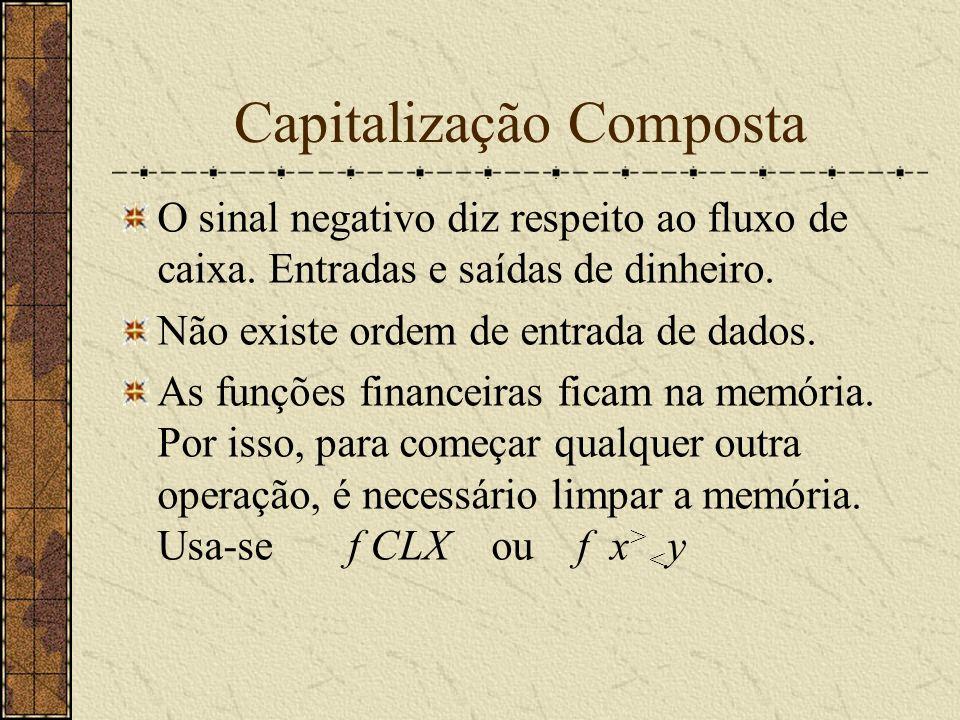 Capitalização Composta O sinal negativo diz respeito ao fluxo de caixa.