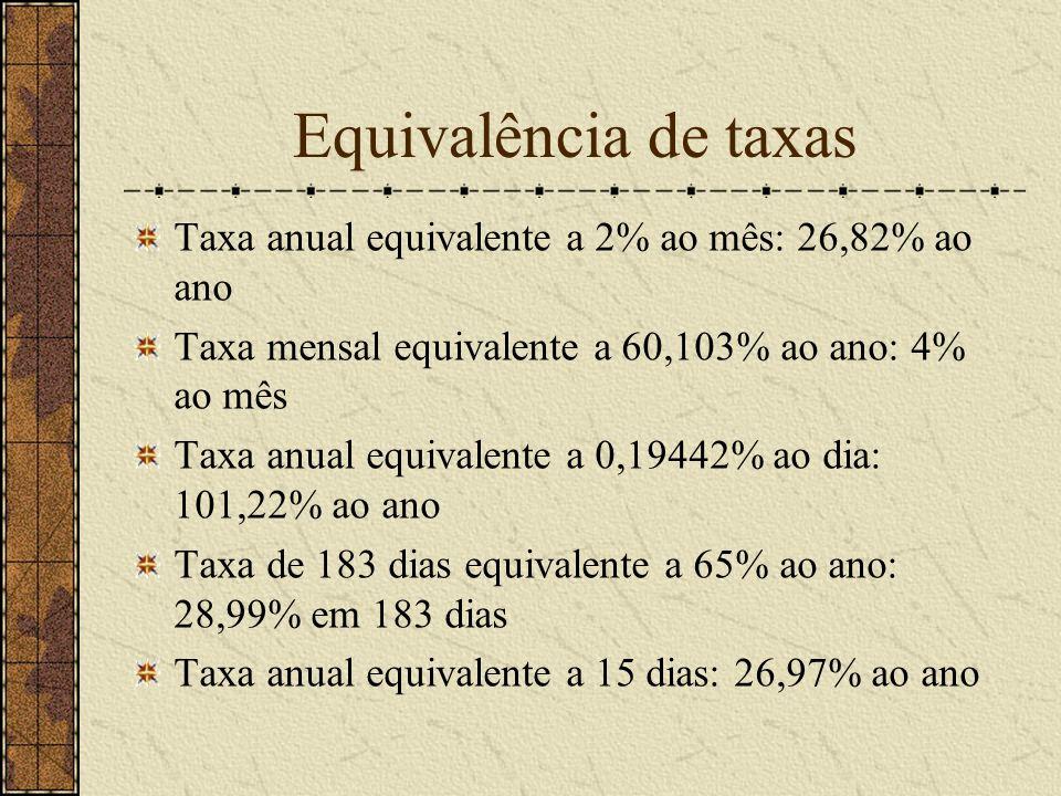 Equivalência de taxas Taxa anual equivalente a 2% ao mês: 26,82% ao ano Taxa mensal equivalente a 60,103% ao ano: 4% ao mês Taxa anual equivalente a 0,19442% ao dia: 101,22% ao ano Taxa de 183 dias equivalente a 65% ao ano: 28,99% em 183 dias Taxa anual equivalente a 15 dias: 26,97% ao ano