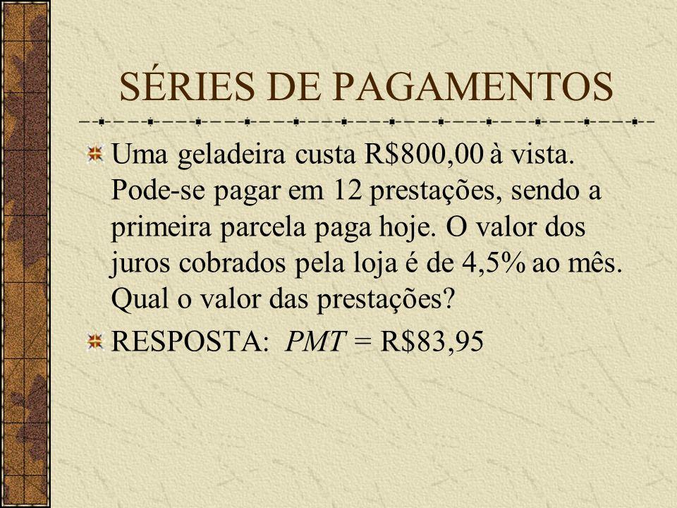 SÉRIES DE PAGAMENTOS Uma geladeira custa R$800,00 à vista.