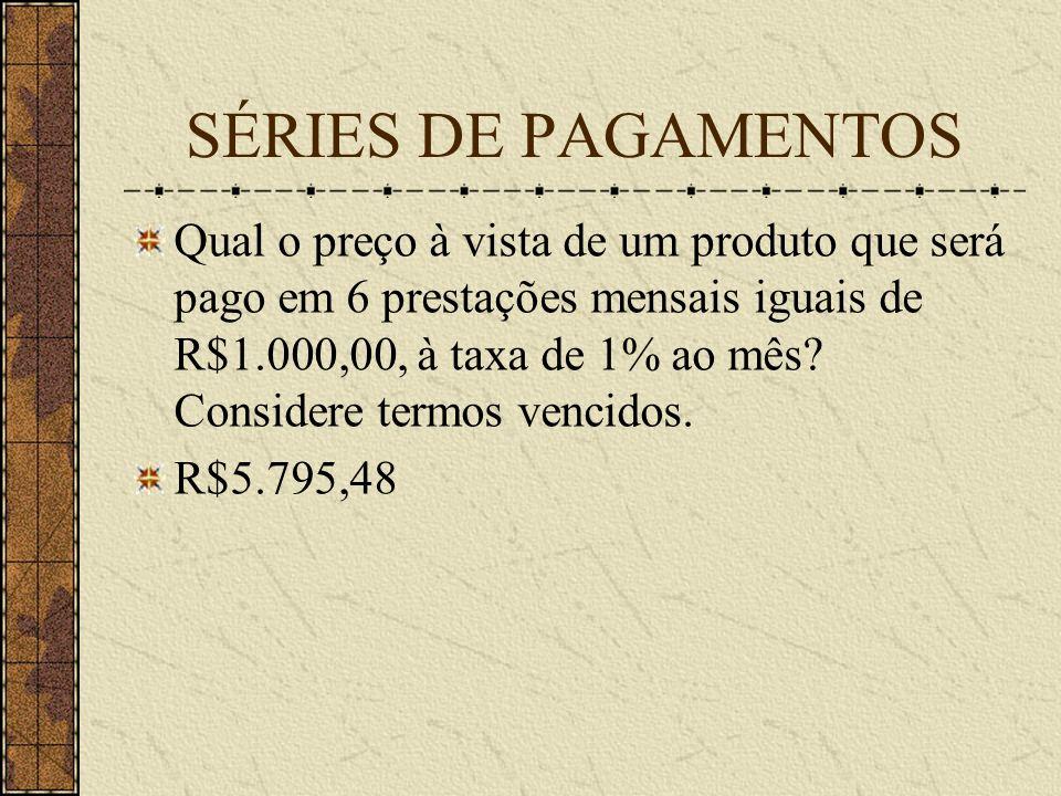 SÉRIES DE PAGAMENTOS Qual o preço à vista de um produto que será pago em 6 prestações mensais iguais de R$1.000,00, à taxa de 1% ao mês.