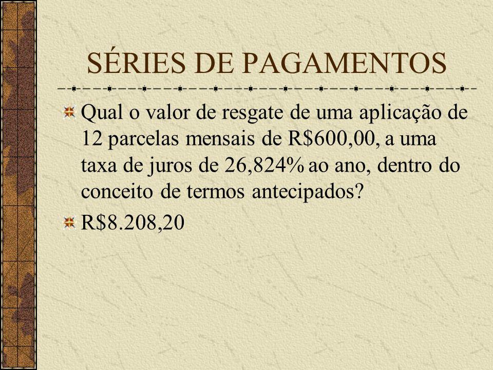 SÉRIES DE PAGAMENTOS Qual o valor de resgate de uma aplicação de 12 parcelas mensais de R$600,00, a uma taxa de juros de 26,824% ao ano, dentro do conceito de termos antecipados.