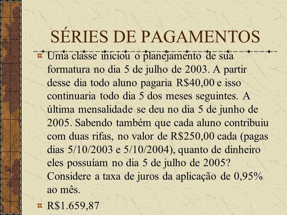 SÉRIES DE PAGAMENTOS Uma classe iniciou o planejamento de sua formatura no dia 5 de julho de 2003.