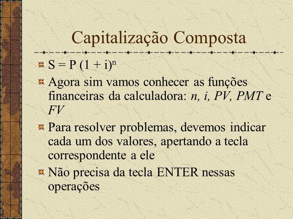 Capitalização Composta S = P (1 + i) n Agora sim vamos conhecer as funções financeiras da calculadora: n, i, PV, PMT e FV Para resolver problemas, devemos indicar cada um dos valores, apertando a tecla correspondente a ele Não precisa da tecla ENTER nessas operações