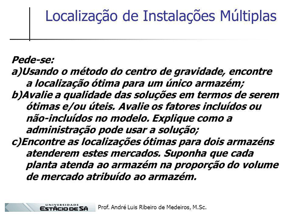Prof. André Luis Ribeiro de Medeiros, M.Sc. Localização de Instalações Múltiplas Pede-se: a)Usando o método do centro de gravidade, encontre a localiz