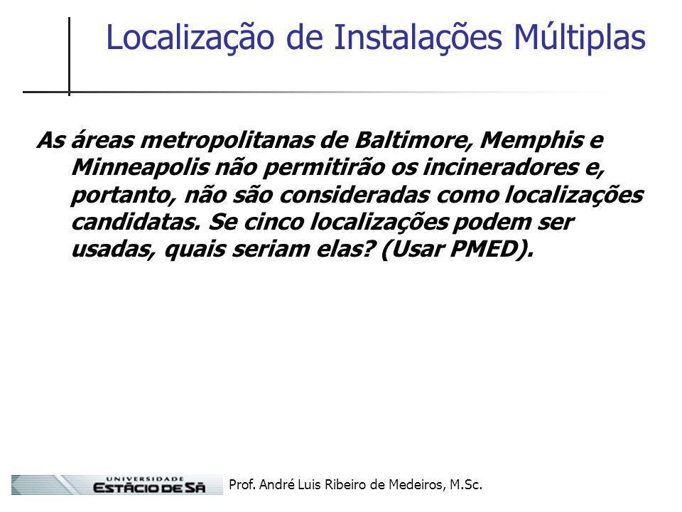 Prof. André Luis Ribeiro de Medeiros, M.Sc. Localização de Instalações Múltiplas As áreas metropolitanas de Baltimore, Memphis e Minneapolis não permi