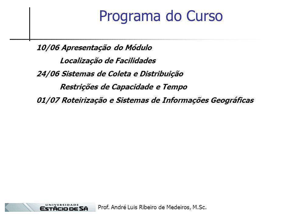 Prof. André Luis Ribeiro de Medeiros, M.Sc. Programa do Curso 10/06 Apresentação do Módulo Localização de Facilidades 24/06 Sistemas de Coleta e Distr