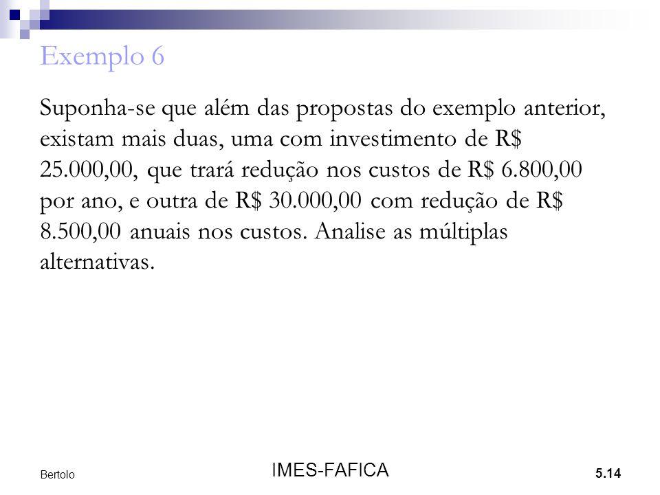 5.14 IMES-FAFICA Bertolo Exemplo 6 Suponha-se que além das propostas do exemplo anterior, existam mais duas, uma com investimento de R$ 25.000,00, que