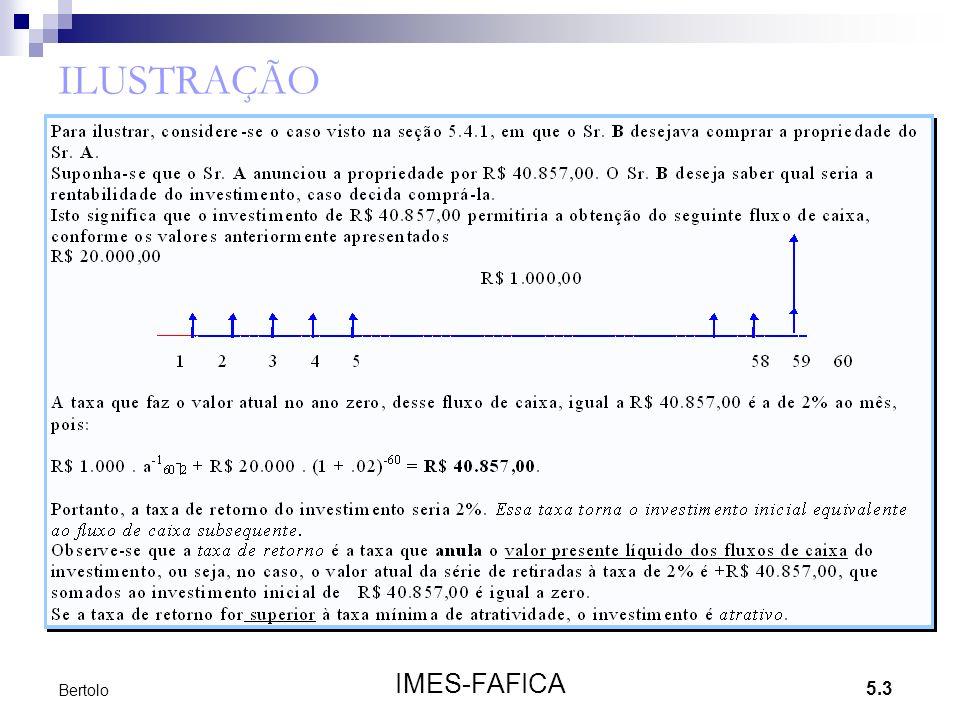 5.14 IMES-FAFICA Bertolo Exemplo 6 Suponha-se que além das propostas do exemplo anterior, existam mais duas, uma com investimento de R$ 25.000,00, que trará redução nos custos de R$ 6.800,00 por ano, e outra de R$ 30.000,00 com redução de R$ 8.500,00 anuais nos custos.