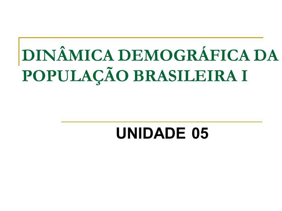 DINÂMICA DEMOGRÁFICA DA POPULAÇÃO BRASILEIRA I UNIDADE 05